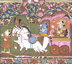 Krishna conduisant Arjuna au combat contre les Pandawa