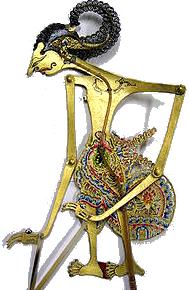 Arjuna représenté dans le théatre d'ombre Balinais : Mahabharata