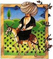 Nasrudin et ses contes Nasr Eddin Hodja est un ouléma mythique de la culture musulmane, personnage ingénu et faux-naïf prodiguant des enseignements tantôt absurdes tantôt ingénieux.
